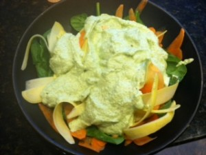 shaved veggies with pesto sauce
